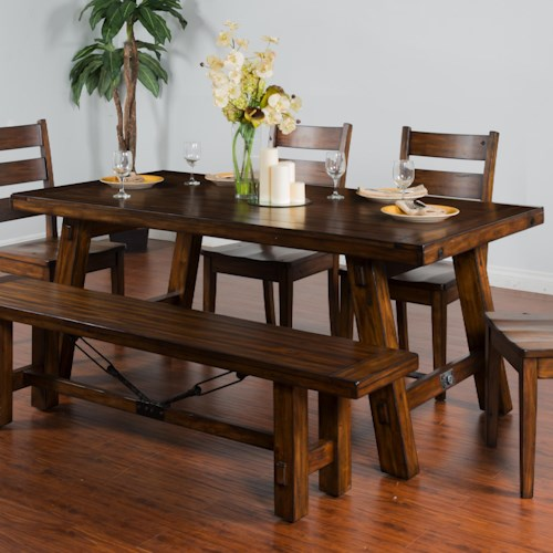 Sunny designs tuscany distressed mahogany extension table w turnbuckle accent zak 39 s fine - Tuscany dining room furniture ideas ...