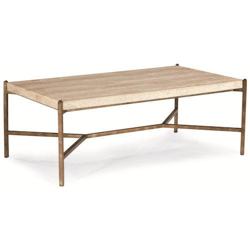 Thomasville Cachet Rectangular Coffee Table W Travertine Stone Top Dunk Bright Furniture