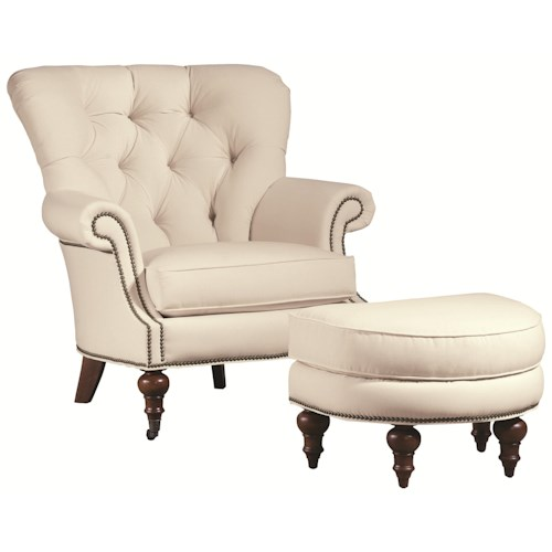 Thomasville Upholstered Chairs And Ottomans Vienna Tufted Back Chair And Ott