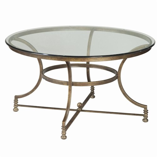 Thomasville Vintage Chateau Round Glass Top Cocktail Table Dunk Bright Furniture Cocktail