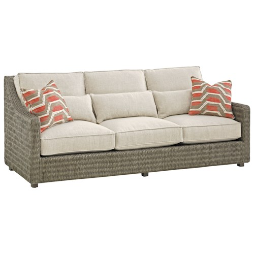 Tommy Bahama Home Cypress Point Hayes Woven Wicker Sofa With Additional Pillows For Back Support