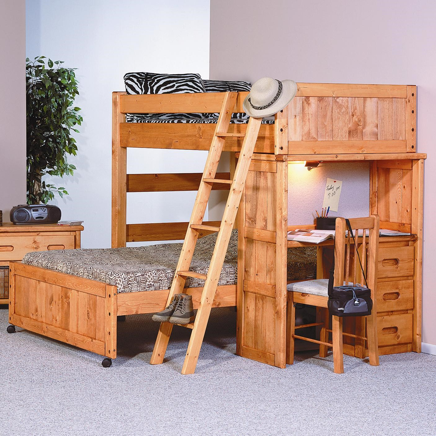Trendwood Bunkhouse Twin Full Roundup Loft Bed With Desk