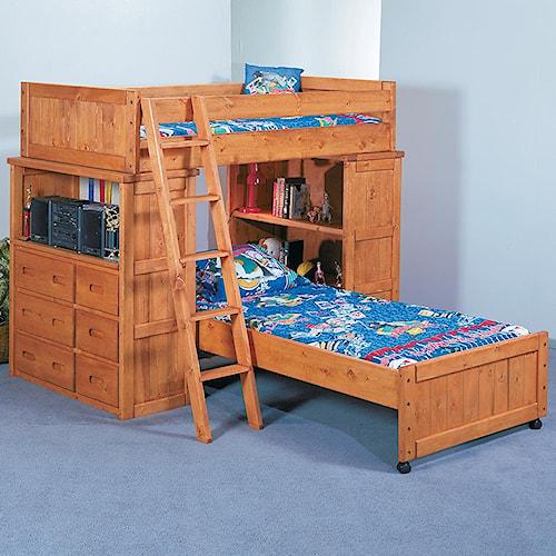 Trendwood bunkhouse twin twin roundup modular loft bed for Modular furniture bed