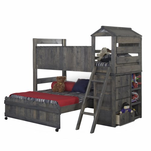 Trendwood The Fort Twin Full Complete Loft Fort Bed With