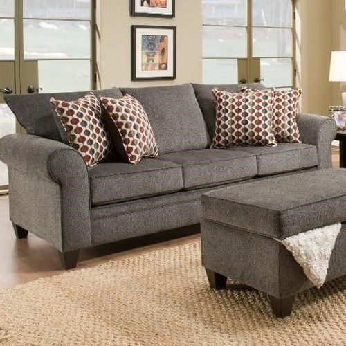 United furniture industries 1647 transitional queen for Transitional sectional sofa sleeper