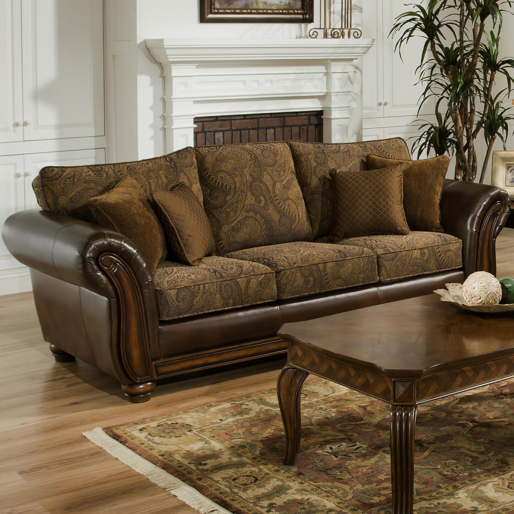 Simmons Upholstery 8104 Queen Leather and Chenille Hide-A ...