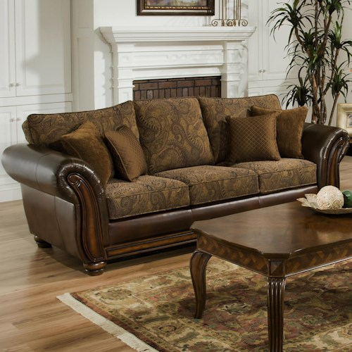 Simmons upholstery 8104 queen leather and chenille hide a for Tapestry sofa living room furniture
