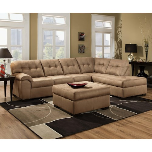 United furniture industries 9558 transitional 2 piece for Sectional sofa furniture fair
