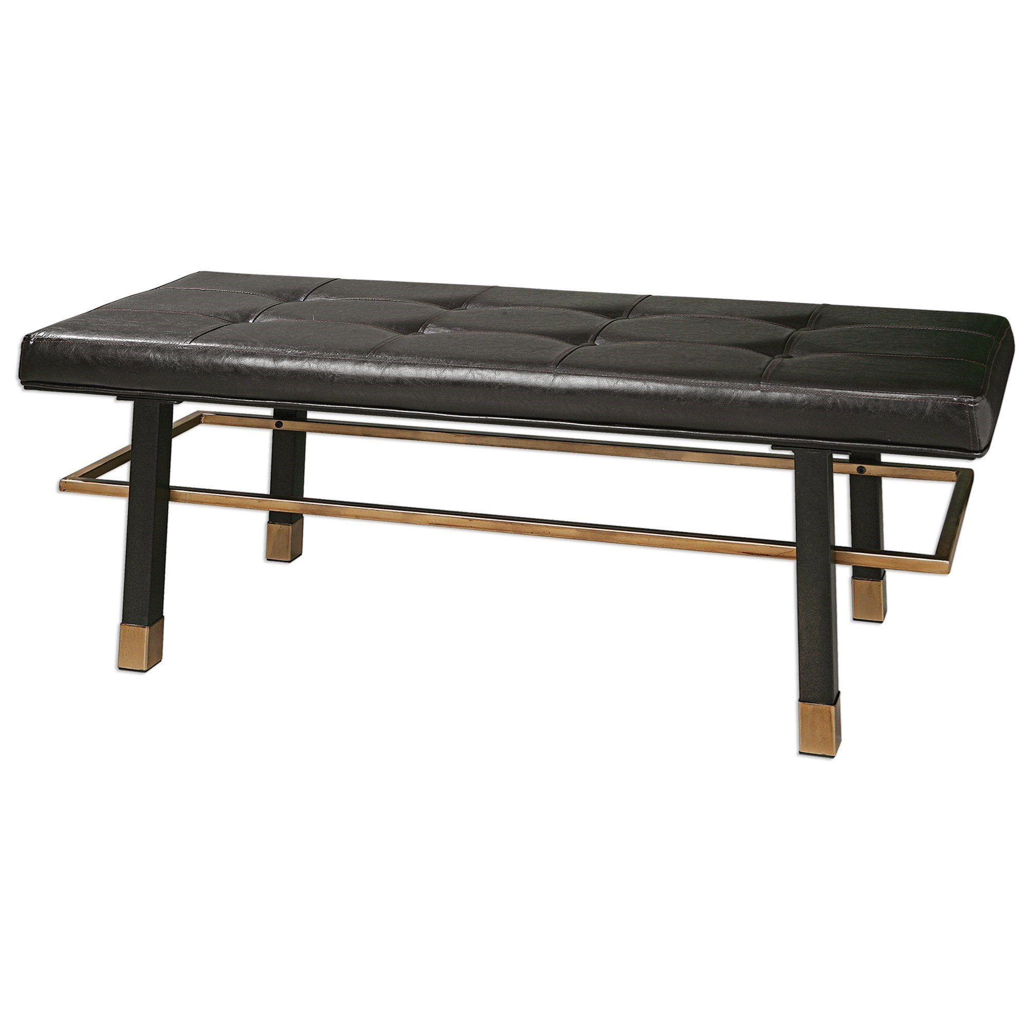 Uttermost Accent Furniture Leather Hennesy Bench Dunk
