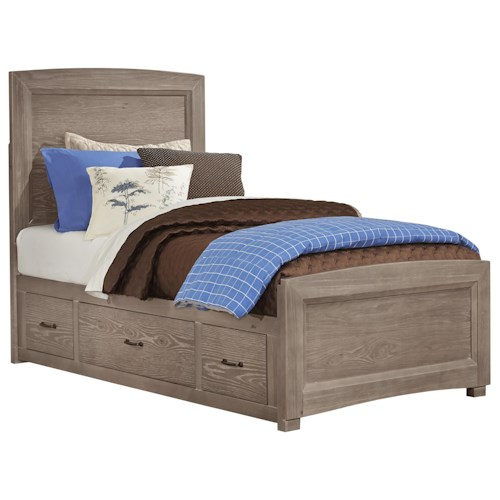 Vaughan bassett transitions twin panel bed with underbed for Height of platform bed