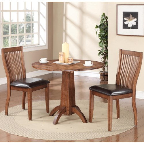 Winners only broadway 3 piece dining set with slat back for 3 piece dining room set