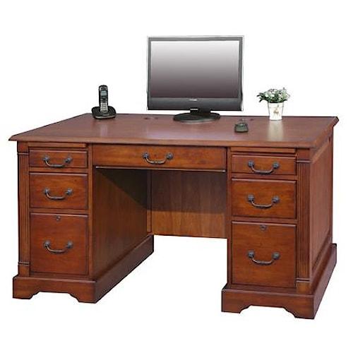 Country Cherry 57 Flat Top Double Pedestal Desk Rotmans