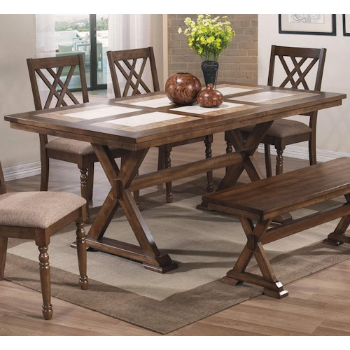 winners only florence 72 tile table with trestle base