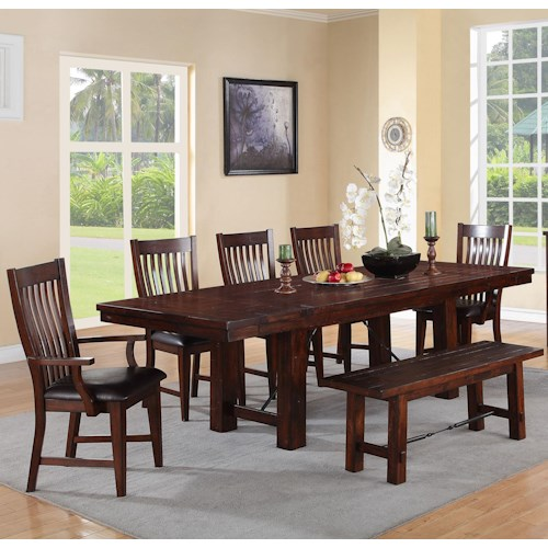 piece dining set with bench and turnbuckle detail pilgrim furniture
