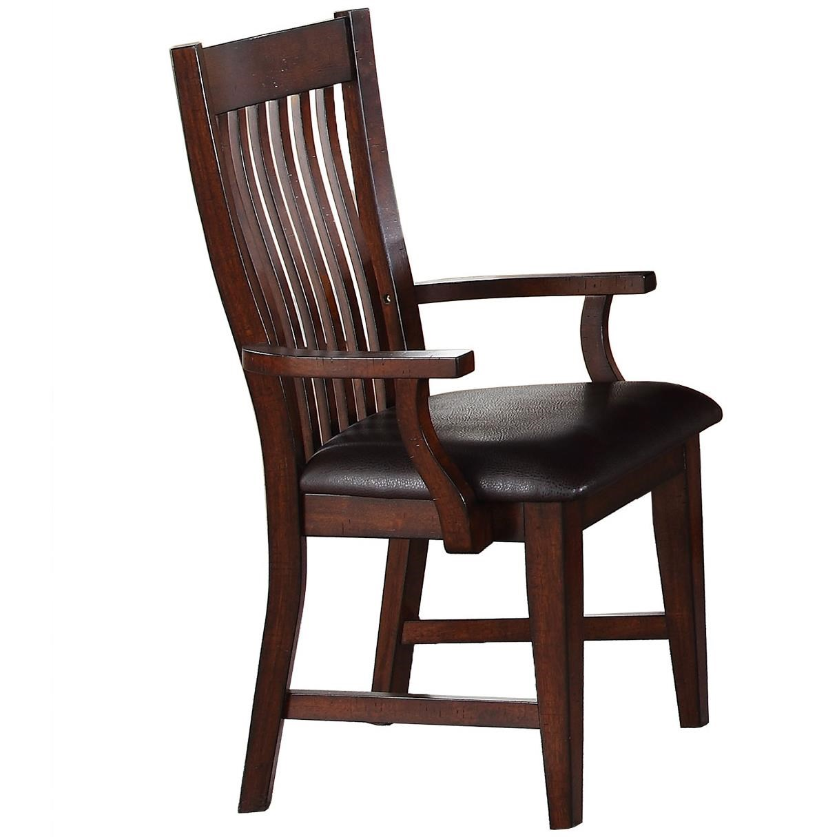 Retreat Slat Back Arm Chair with Upholstered Seat