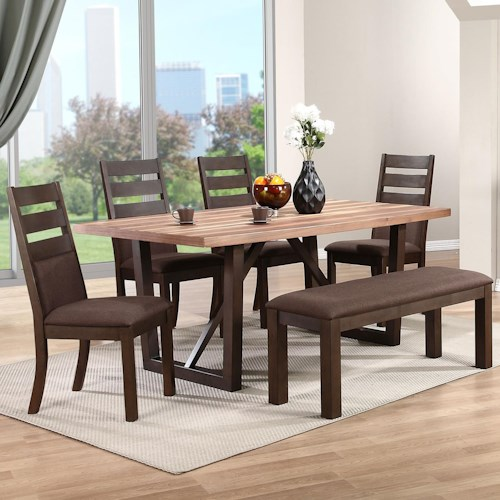 Troyer 6 Piece Dining Set With Upholstered Bench Rotmans