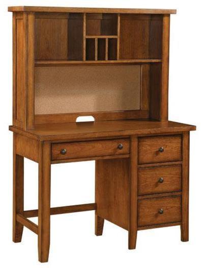 classic cognac youth single pedestal desk   hutch