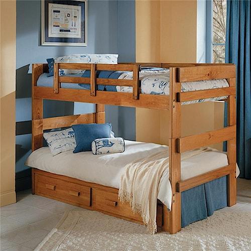 Woodcrest heartland br split bunk bed furniture fair - Bedroom furniture made in north carolina ...