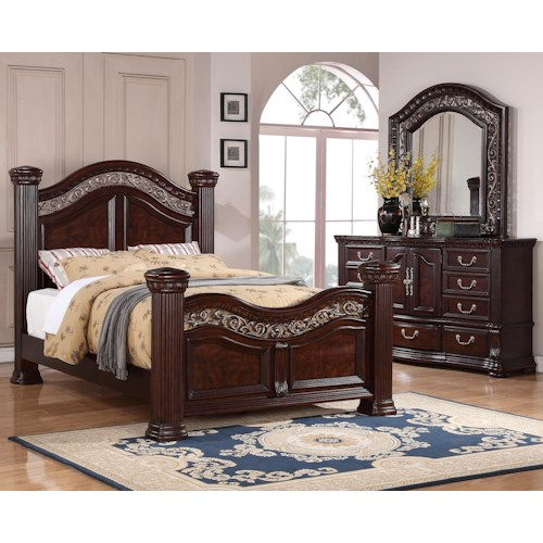 3 piece bedroom group with queen bed and dresser and