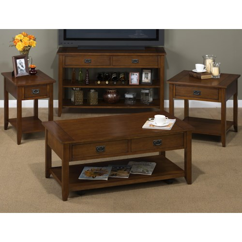 Jofran Mission Oak Occasional Table Group