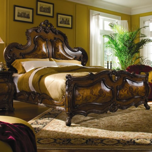 Michael Amini Palais Royale Queen-Size Mansion Bed with Unique Pillowed Wood Design