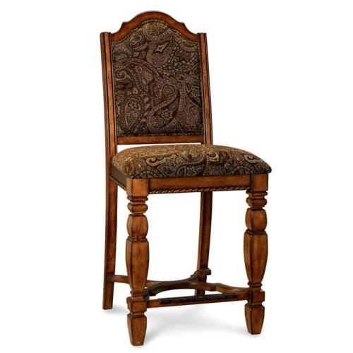 A.R.T. Furniture Inc Marbella Upholstered Counter Stool with Inlaid Metal Scrollwork
