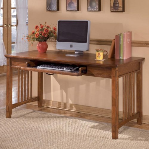 Ashley Furniture Cross Island Oak Large Leg Desk Godby Home Furnishings Table Desk