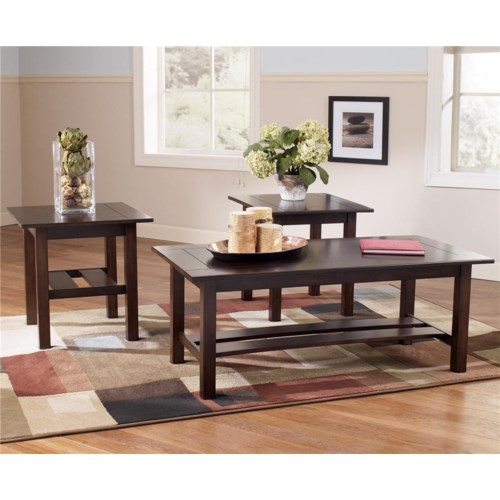 Signature Design by Ashley Furniture Lewis Contemporary 3-in-1 Pack Occasional Tables with Cocktail Table and 2 End Tables