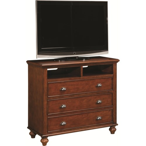 Aspenhome Madison Two-Drawer Entertainment Chest with Two Open Component Areas