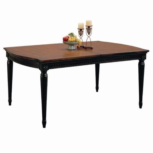 Aspenhome Young Classics Two-Tone Chesapeake Formal Dining Leg Table with 2 Extension Leaves