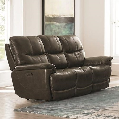 Bassett Brookville Casual Power Reclining Sofa with Power Headrests and USB Port