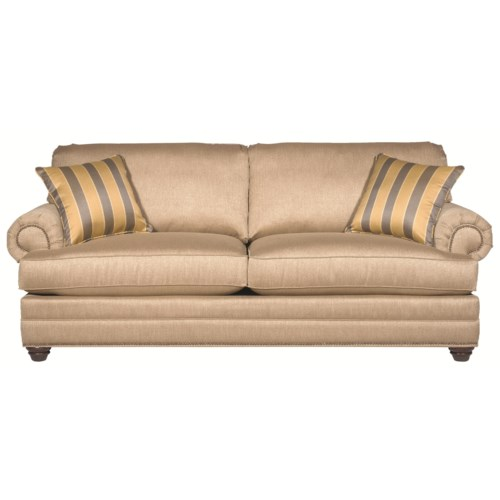 Bassett Custom Upholstery - Estate <b>Customizable</b> Queen Sleeper with Panel Arms and Turned Feet