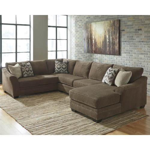 Benchcraft justyna contemporary 3 piece sectional with for Benchcraft chaise lounge