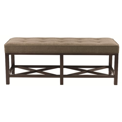 Bernhardt Interiors - Accents Myla Bench with Cushion and Double X Stretcher