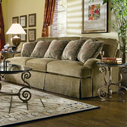 Bernhardt Upholstered Accents Crusoe Stationary Sofa With Skirt