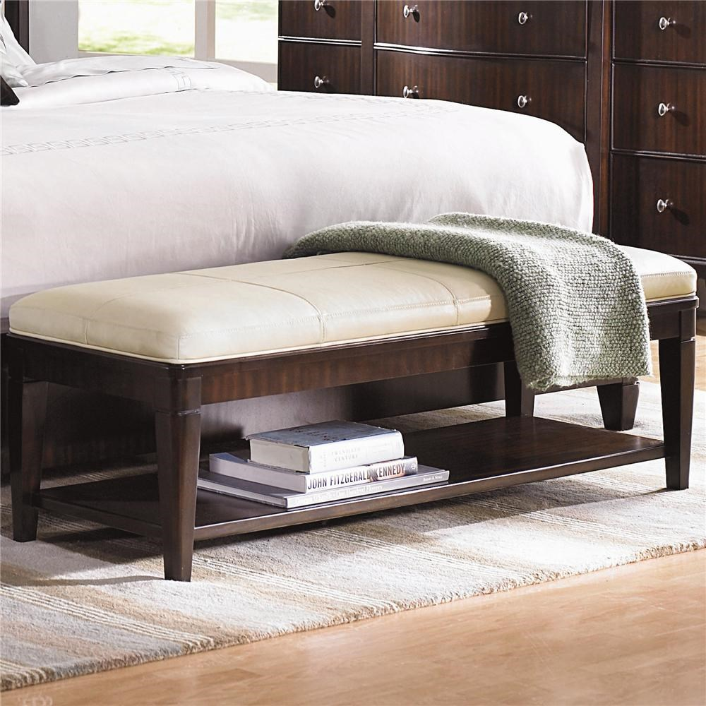 Cream Leather Bench Leather Upholstered Bench