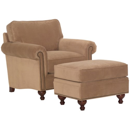 Broyhill Furniture Harrison Casual Style Chair and Ottoman