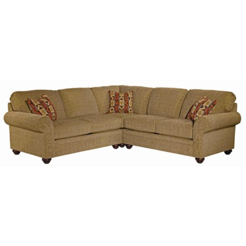 Broyhill Furniture Choices Upholstery Sectional Sofa with Sock Arm, Round Knife Edge Semi-Attached Back and Turned Foot Base
