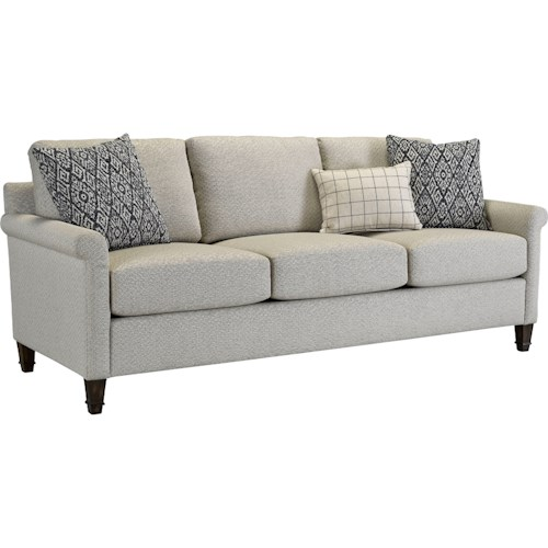 Broyhill Furniture Wells Transitional Sofa with Rolled Arms