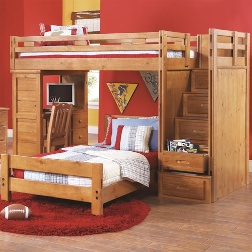 Canyon Creekside Twin Loft Bed W Desk And Storage Stairs