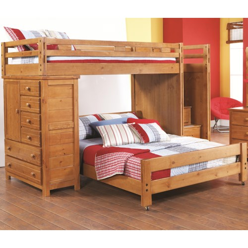 Canyon Creekside Twin/Full Loft Bed w/ Chest and Storage Chairs