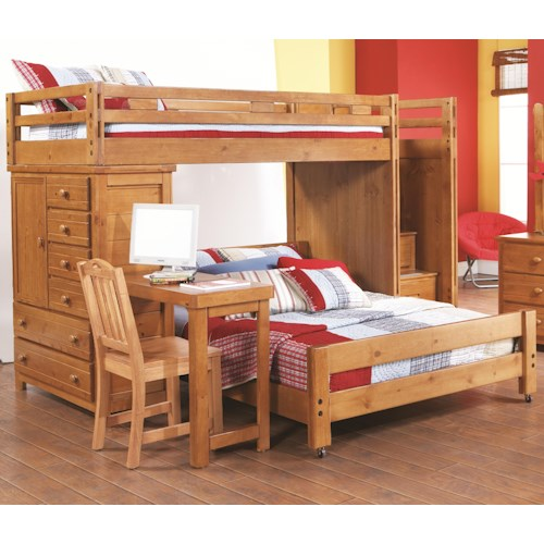 Canyon Creekside Twin Full Loft Bed W Attached Desk
