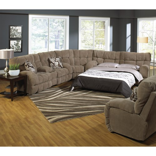 Catnapper Siesta Reclining Sectional Sofa with Sofa Sleeper - Dallas ...