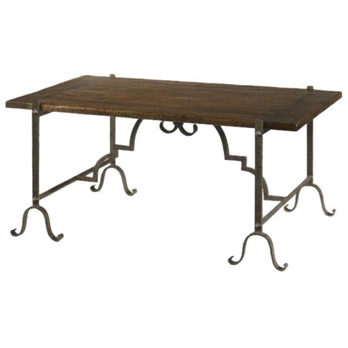 Century Marbella 661 Hierro Oak and Wrought Iron Cocktail Table