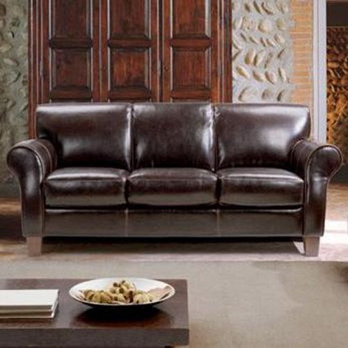 Chateau Dax Furniture Reviews: Chateau D'Ax 1681 Transitional Leather Sofa With Rolled