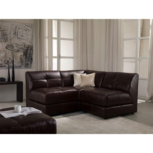 Chateau D'Ax U745 Leather 3 Piece Modular Sectional Sofa