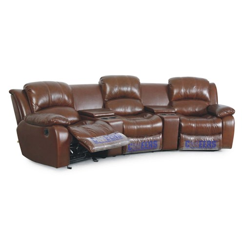 Cheers Sofa XW8251N 3-Person Leather Theater Seating with Storage and Cupholders