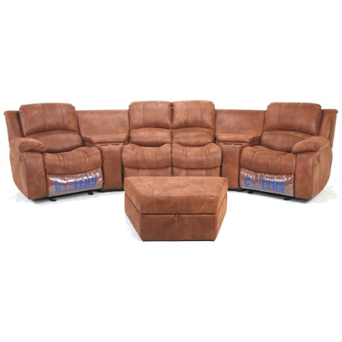 Cheers Sofa XW8251M  Motion 4-Person Theater Seating with Storage Consoles and Cupholders