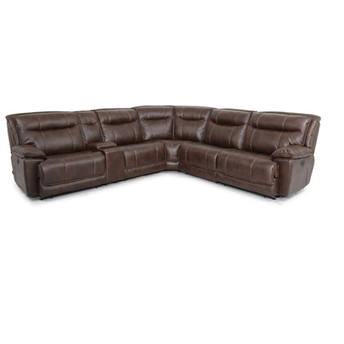 Cheers Sofa X9918M 6 Piece Manual Reclining Sectional Sofa with Console