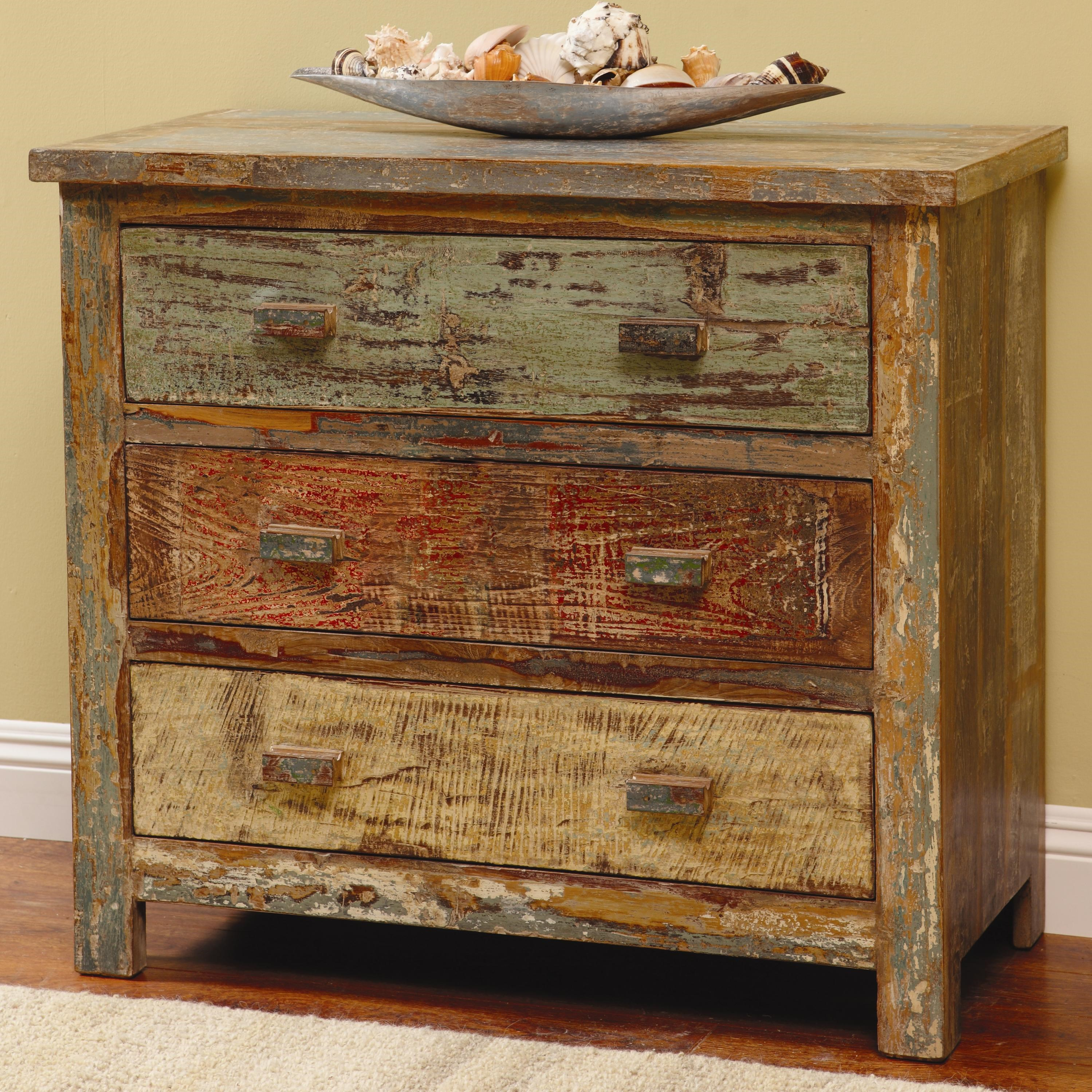 Classic Home Vintage Reclaimed Wood Multi Color 3 Drawer Chest